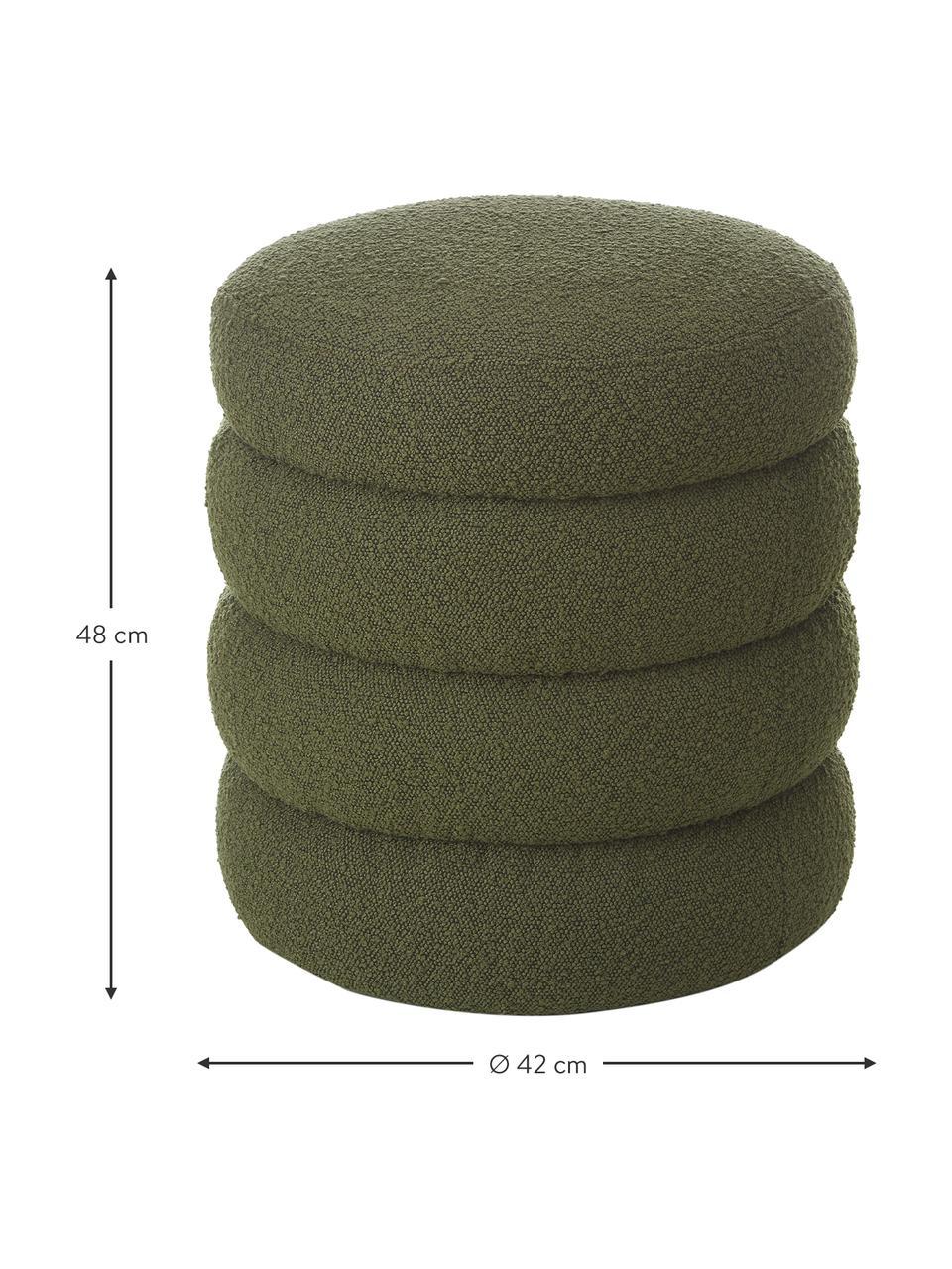 Tabouret en tissu bouclé Alto, Tissu bouclé vert