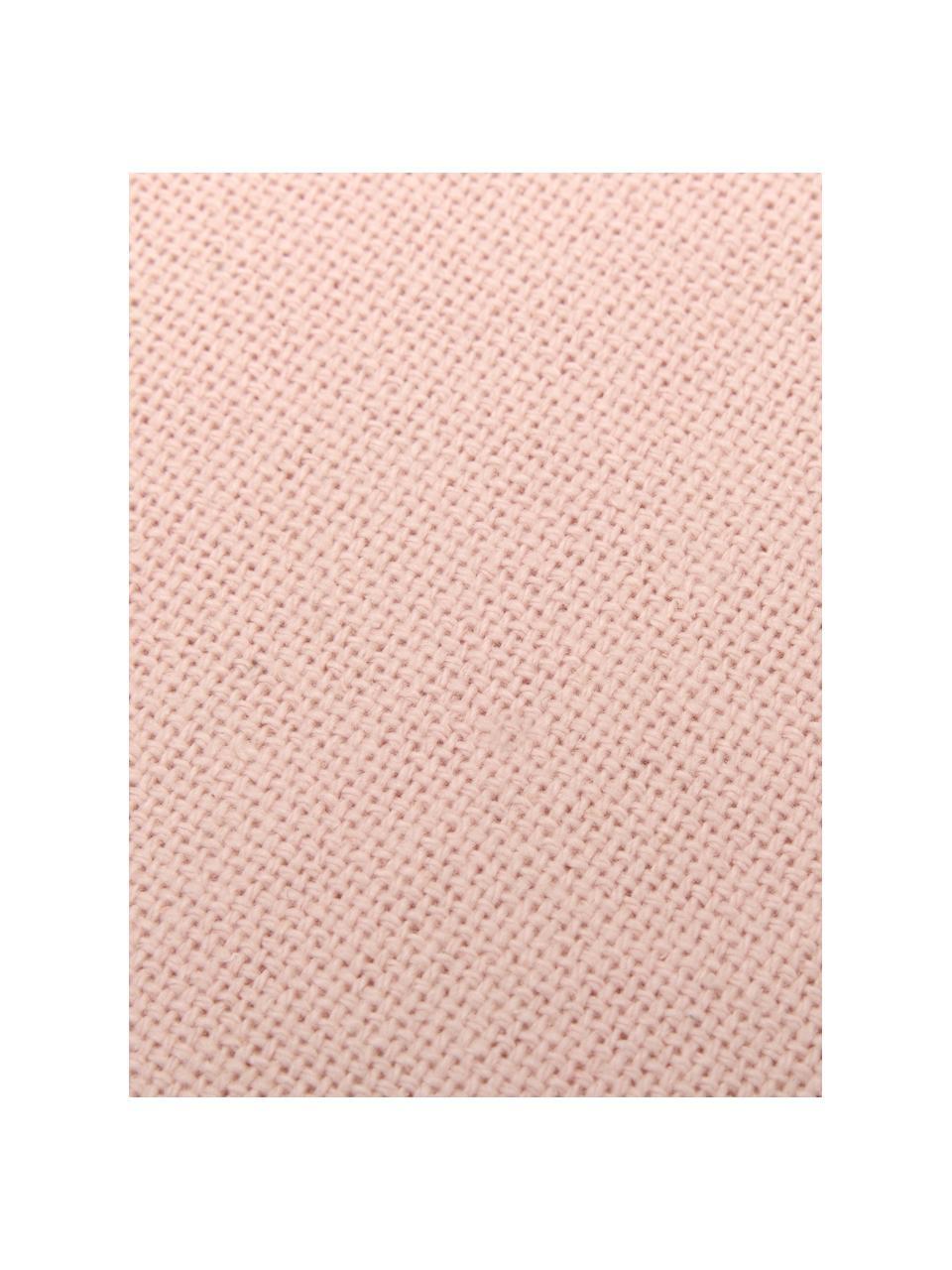 Kissen Prague in Rosa mit Fransenabschluss, mit Inlett, Vorderseite: 100% Baumwolle, grob gewe, Rückseite: 100% Baumwolle, Rosa, 40 x 40 cm