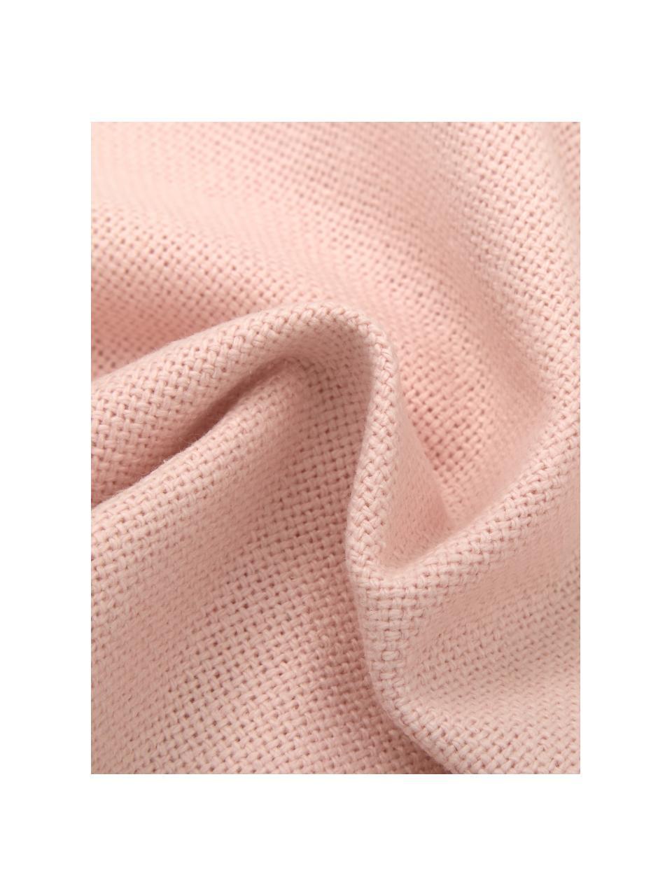 Cojín con flecos Prague, con relleno, Parte delantera: 100%algodón de tejido gr, Parte trasera: 100%algodón, Rosa, An 40 x L 40 cm