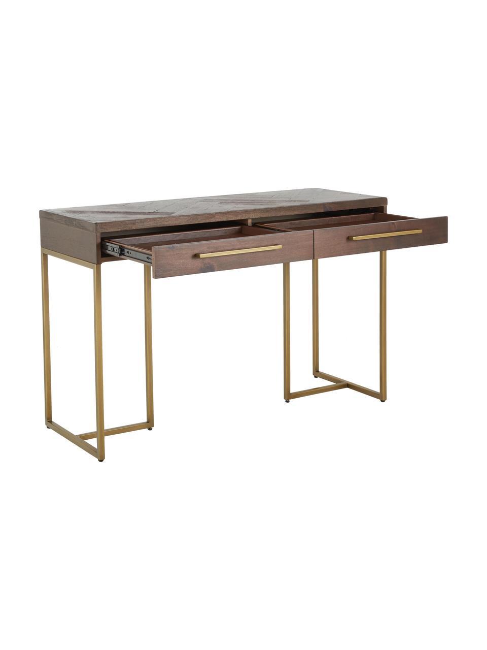 Konzolový stolek s dýhou z akátového dřeva Class, Akátové dřevo, mosazná