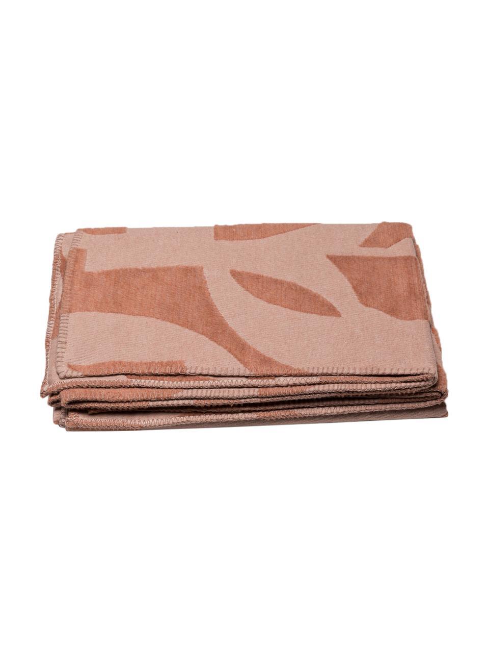 Manta de algodón Grafic, 85%algodón, 15%poliacrílico, Rosa, terracota, An 130 x L 200 cm