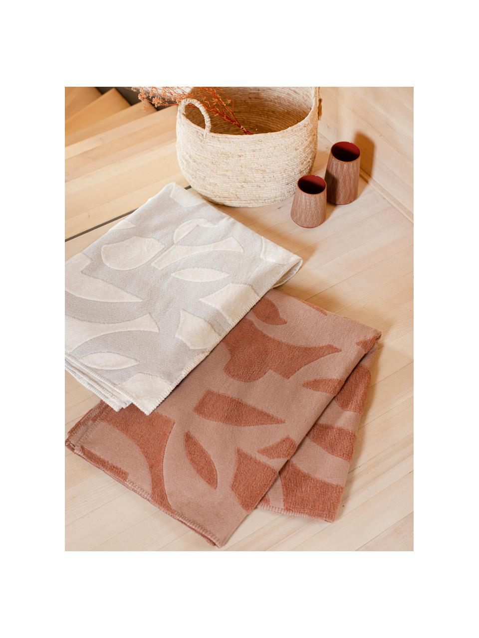 Bavlnená deka s prešívaním Grafic, Bledoružová, tehlová