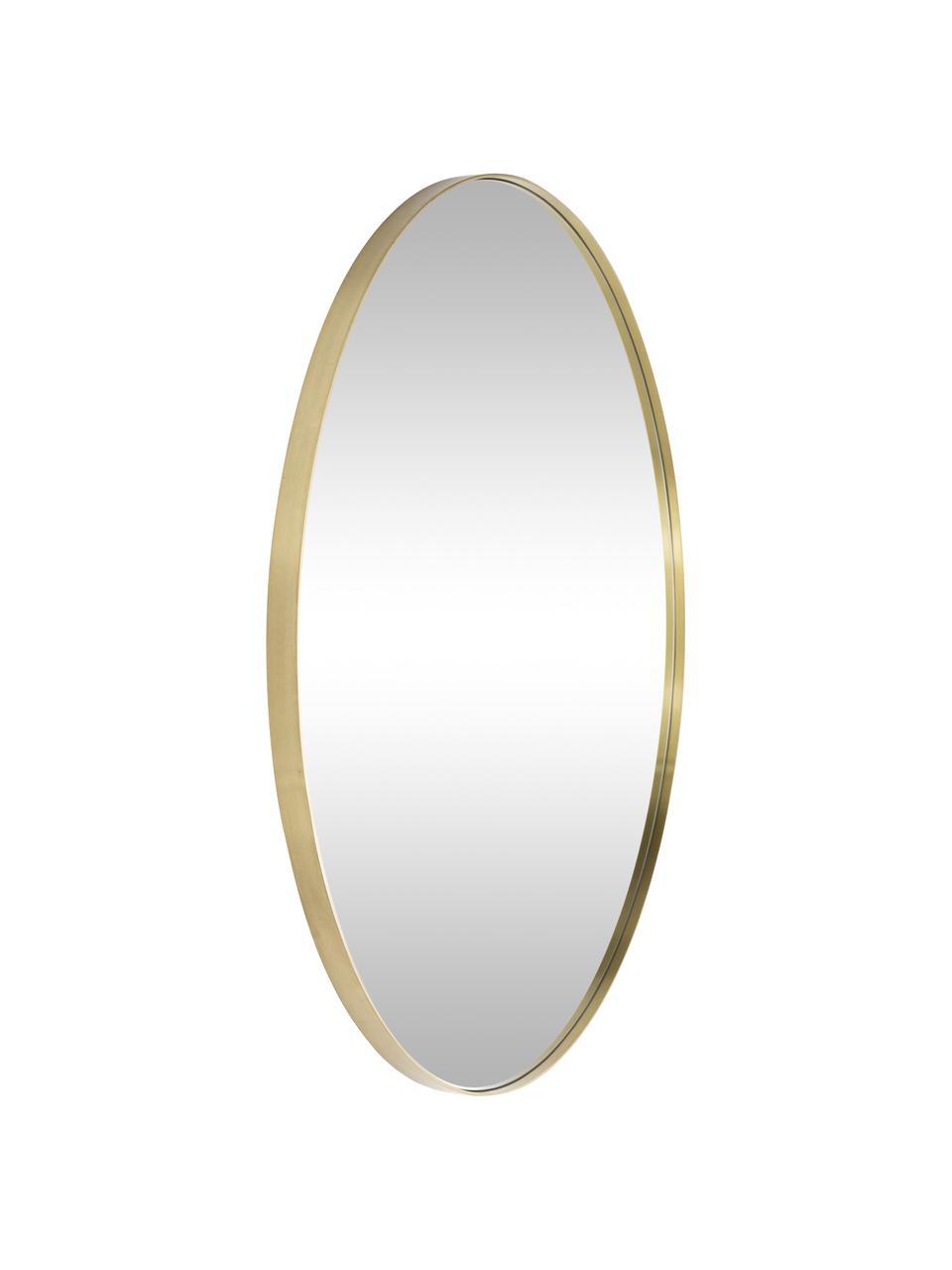 Ronde wandspiegel Ada met goudkleurige lijst, Lijst: vermessingd ijzer, Geborsteld messingkleurig, Ø 120 cm