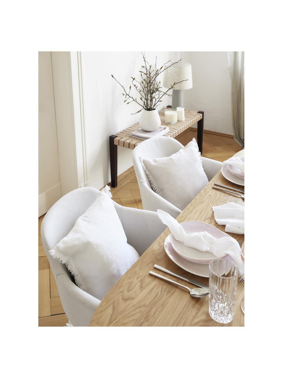 Federa arredo in lino bianco crema con frange Luana, 100% lino, Bianco crema, Larg. 60 x Lung. 60 cm