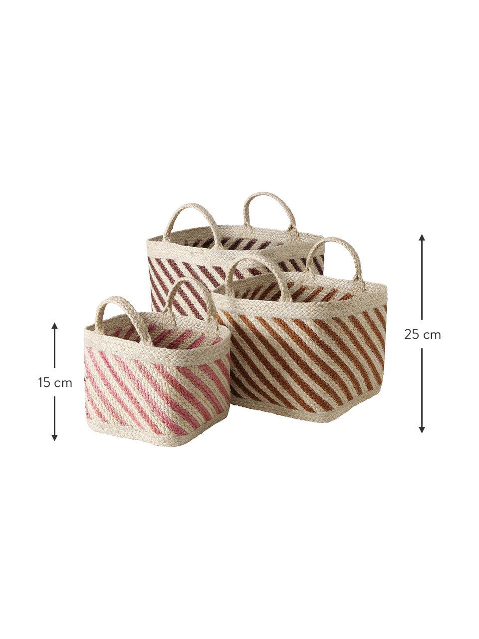 Handgefertigtes Aufbewahrungskörbe-Set Magura aus Jute, 3-tlg., Jute, Mehrfarbig, Set mit verschiedenen Größen