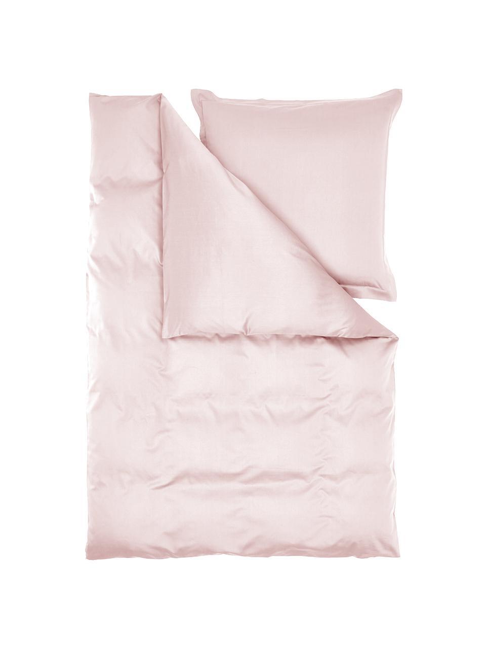 Satin-Bettwäsche Premium aus Bio-Baumwolle in Rosa mit Stehsaum, Webart: Satin Fadendichte 400 TC,, Rosa, 240 x 220 cm + 2 Kissen 80 x 80 cm