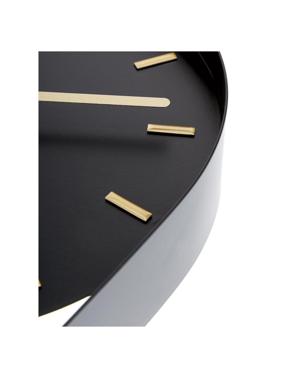 Zegar ścienny Charm, Metal powlekany, Czarny, odcienie złotego, S 20 x W 50 cm