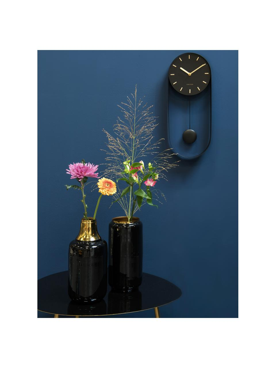 Wanduhr Charm, Metall, beschichtet, Schwarz, Goldfarben, 20 x 50 cm