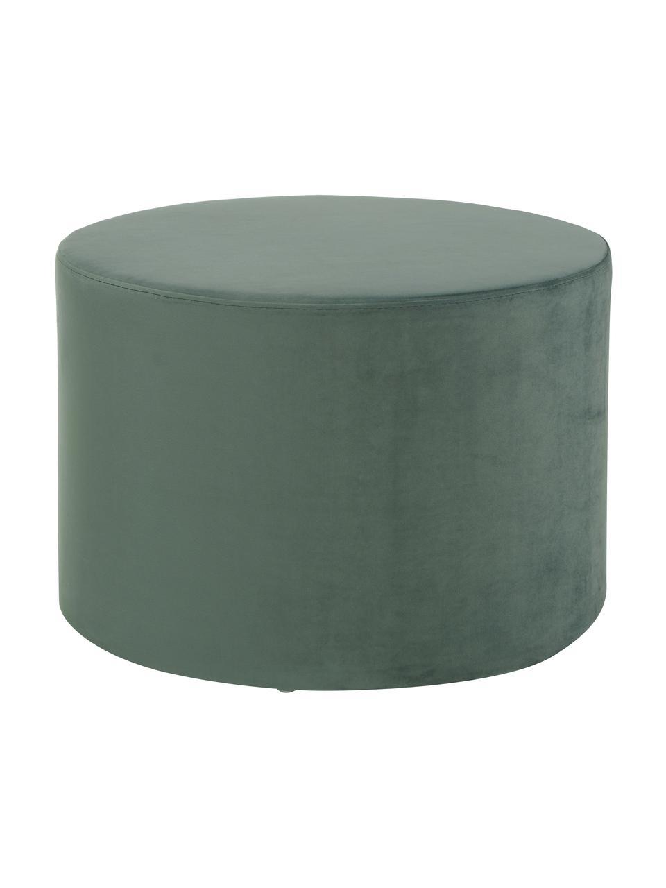 Pouf in velluto Daisy, Rivestimento: velluto (poliestere) Con , Struttura: compensato, Verde chiaro, Ø 54 x Alt. 38 cm