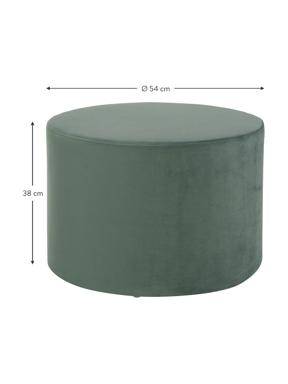 Fluwelen poef Daisy, Bekleding: fluweel (polyester), Frame: multiplex, Fluweel lichtgroen, Ø 54 x H 38 cm