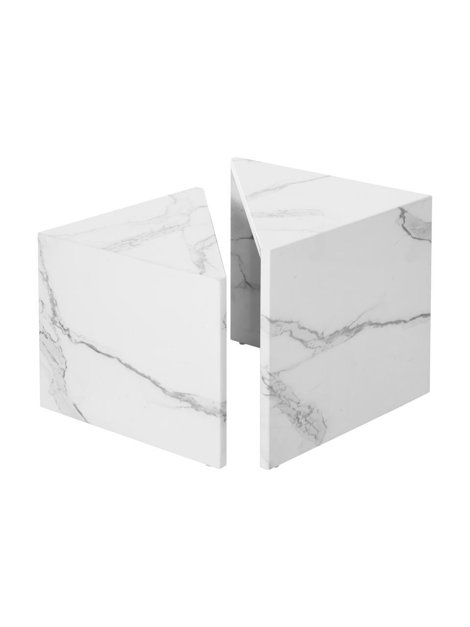 Set 2 tavolini da salotto effetto marmo Vilma, Pannello di fibre a media densità (MDF) rivestito con carta effetto marmo laccata, Bianco marmorizzato lucido, Set in varie misure
