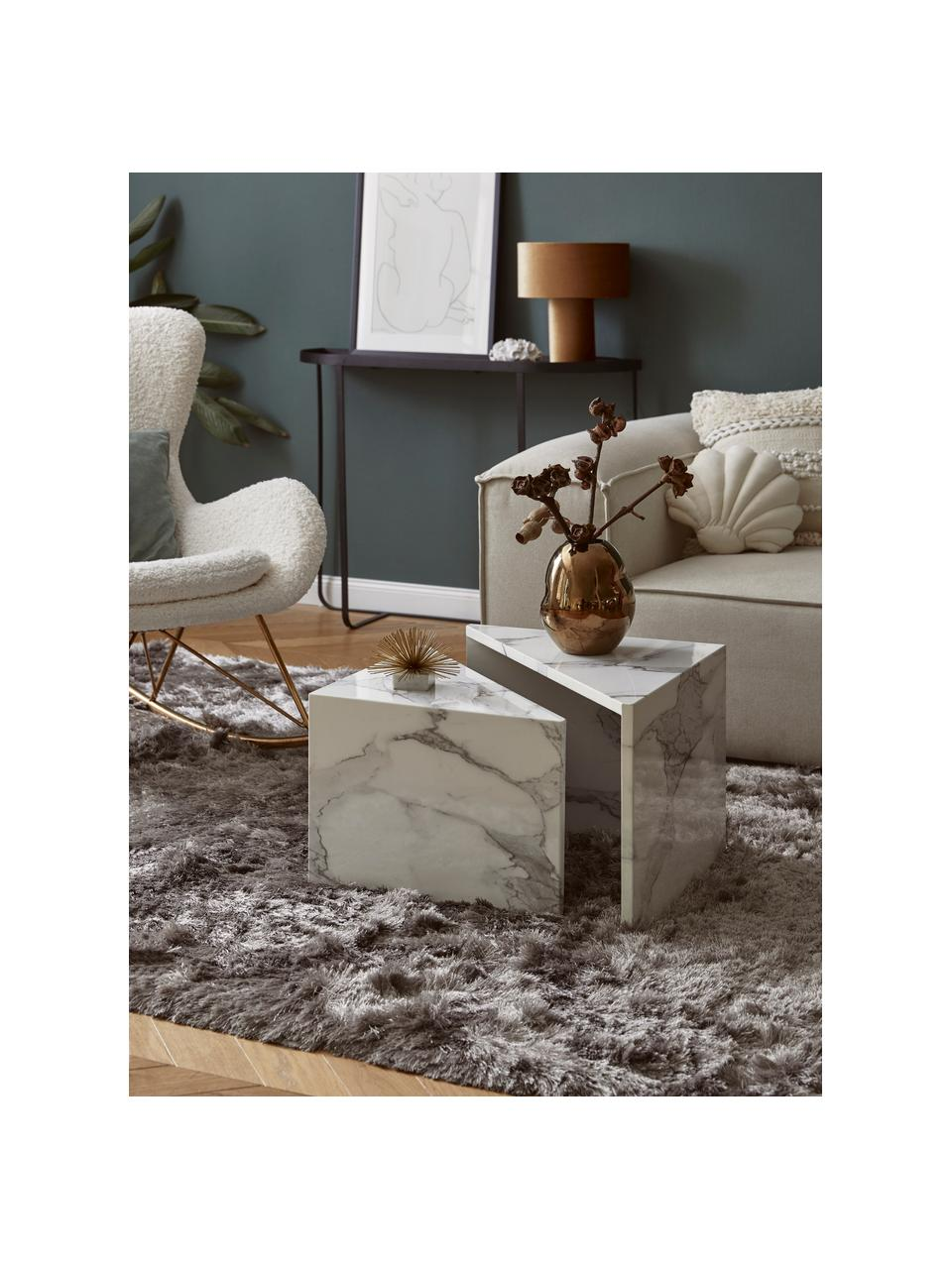 Set 2 tavolini da salotto effetto marmo Vilma, Pannello di fibre a media densità (MDF) rivestito con carta patinata laccata effetto marmo, Bianco marmorizzato lucido, Set in varie misure