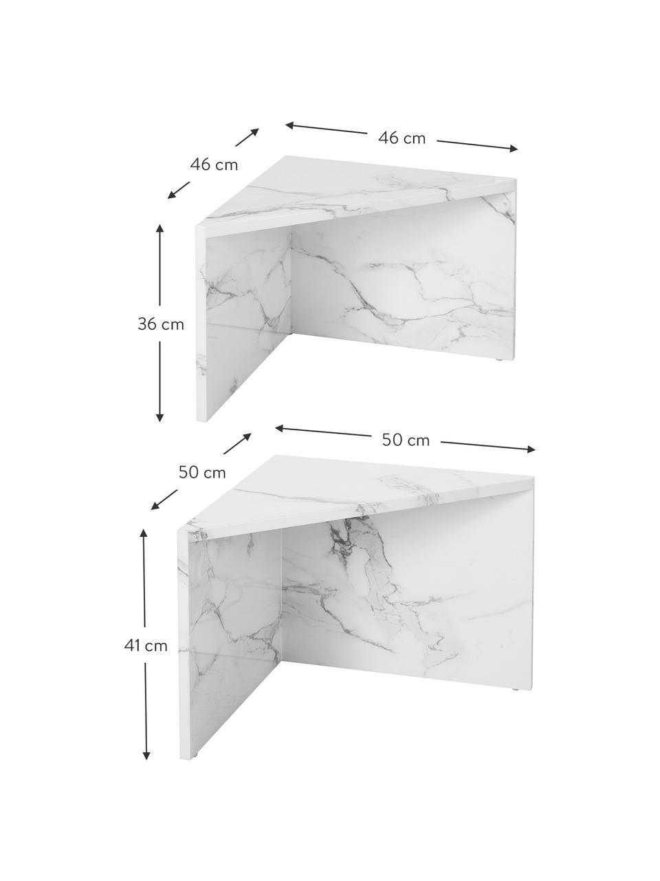 Salontafelset Vilma in marmerlook, 2-delig, MDF bedekt met gelakt papier in marmerlook, Wit, gemarmerd, glanzend, Set met verschillende formaten