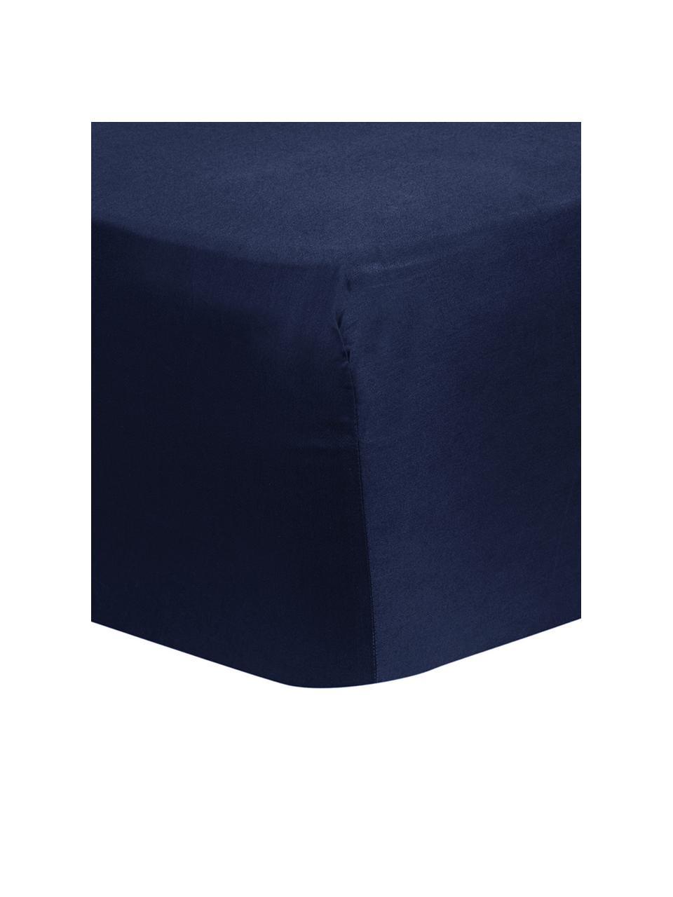 Lenzuolo con angoli in raso di cotone blu scuro Comfort, Blu scuro, Larg. 200 x Lung. 200 cm