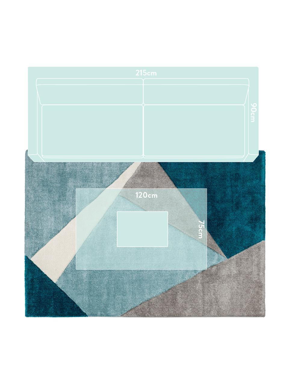 Teppich My Broadway mit geometrischem Muster in Beige-Blau, Flor: 100% Polypropylen, Blautöne, Beige, Creme, B 200 x L 290 cm (Größe L)