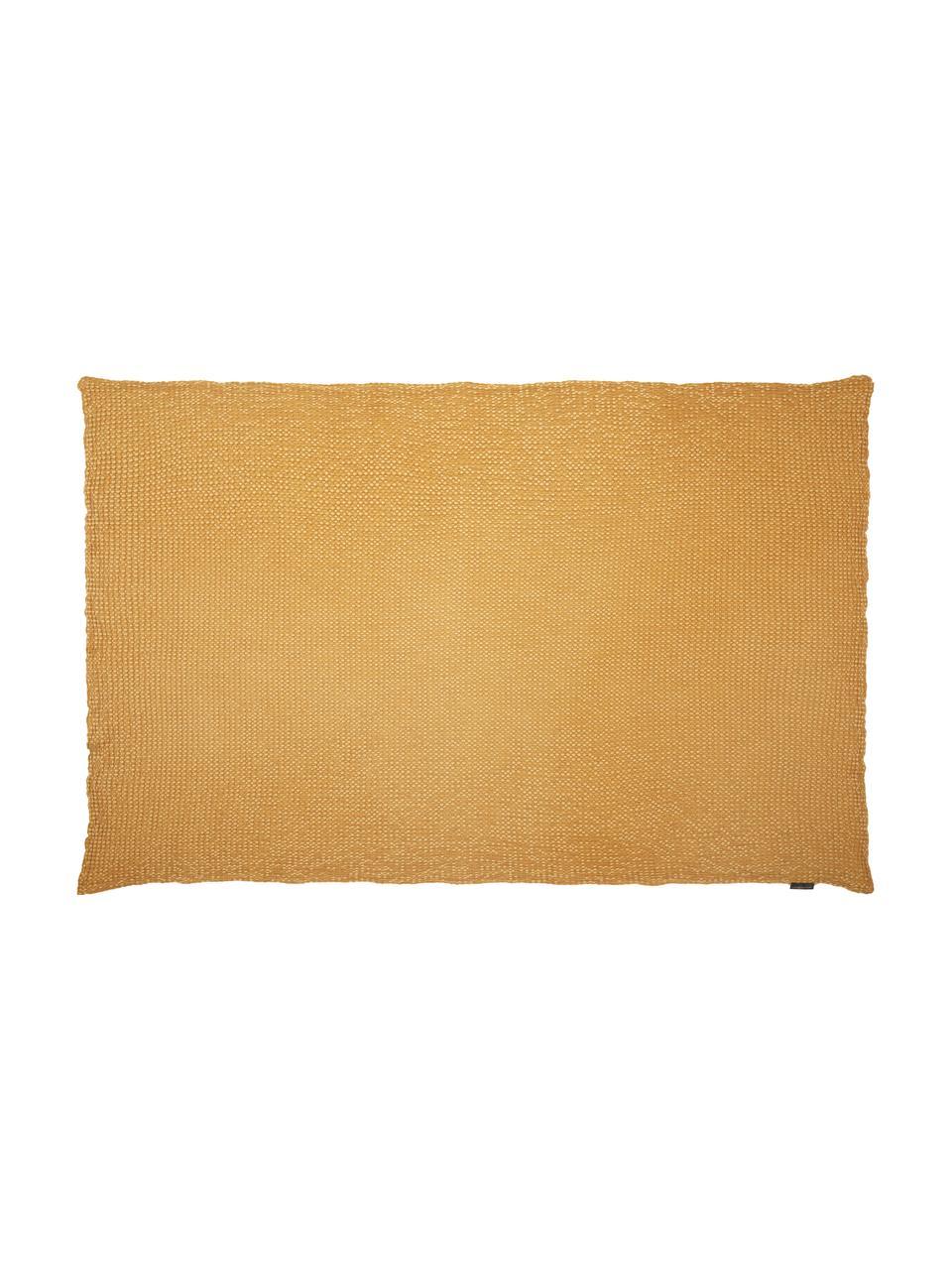 Pled ze strukturalną powierzchnią Vigo, 100% bawełna, Złotożółty, S 140 x D 200 cm