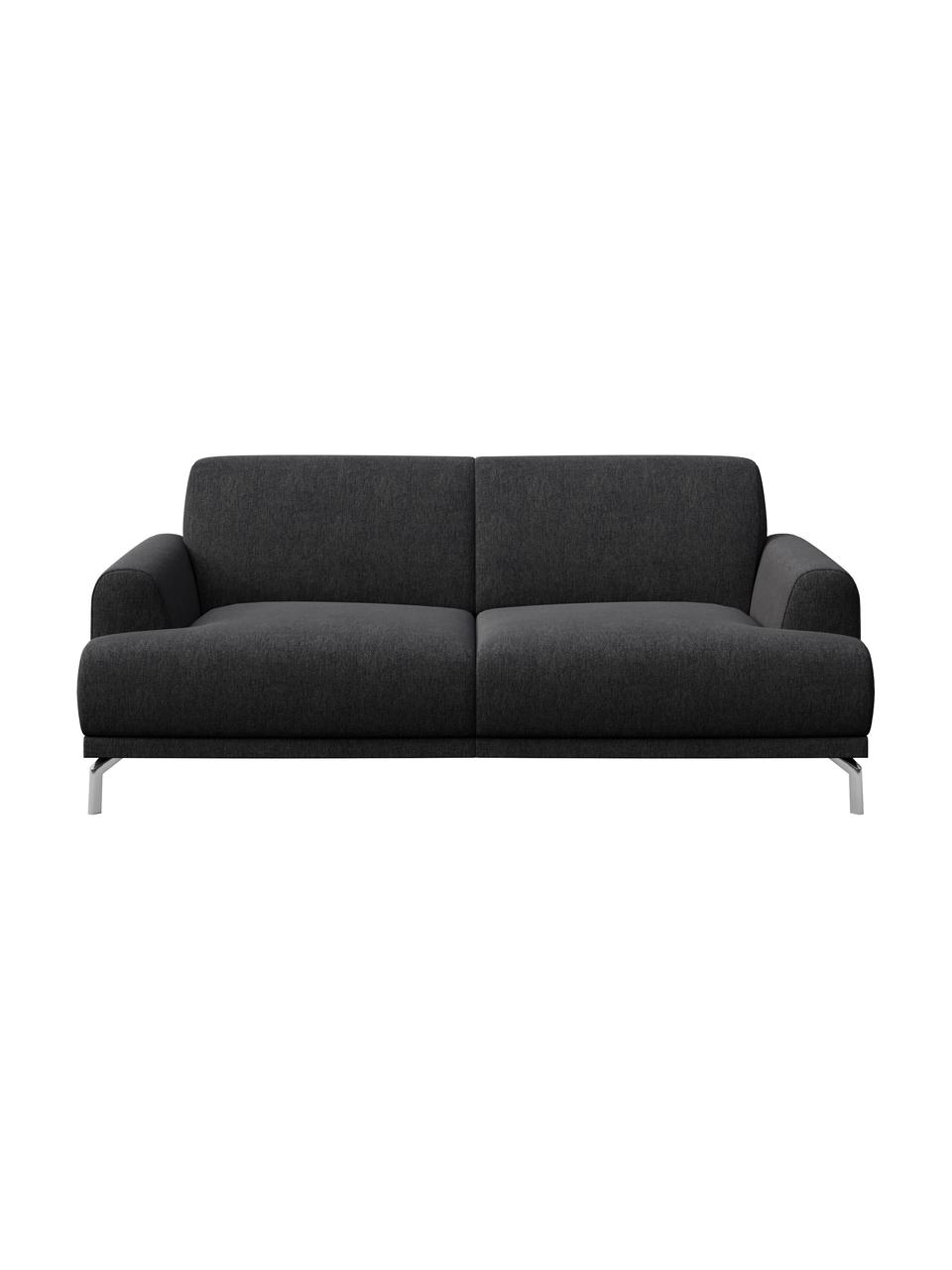 Sofa Puzo (2-osobowa), Tapicerka: 100% poliester, Nogi: metal lakierowany, Ciemnyszary, S 170 x G 84 cm