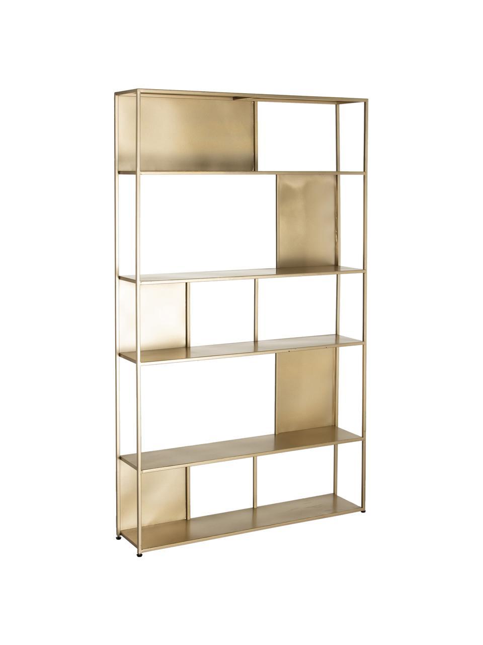 Libreria dorata Talme, Metallo rivestito, Dorato, Larg. 100 x Alt. 175 cm