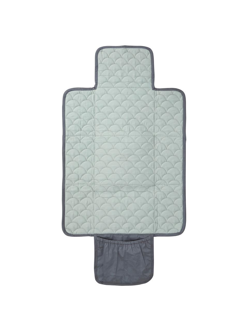 Kleine Wickelmatte Wave aus Bio-Baumwolle, Bezug: 100% Biobaumwolle, OCS-ze, Grau, Mintgrün, 19 x 23 cm