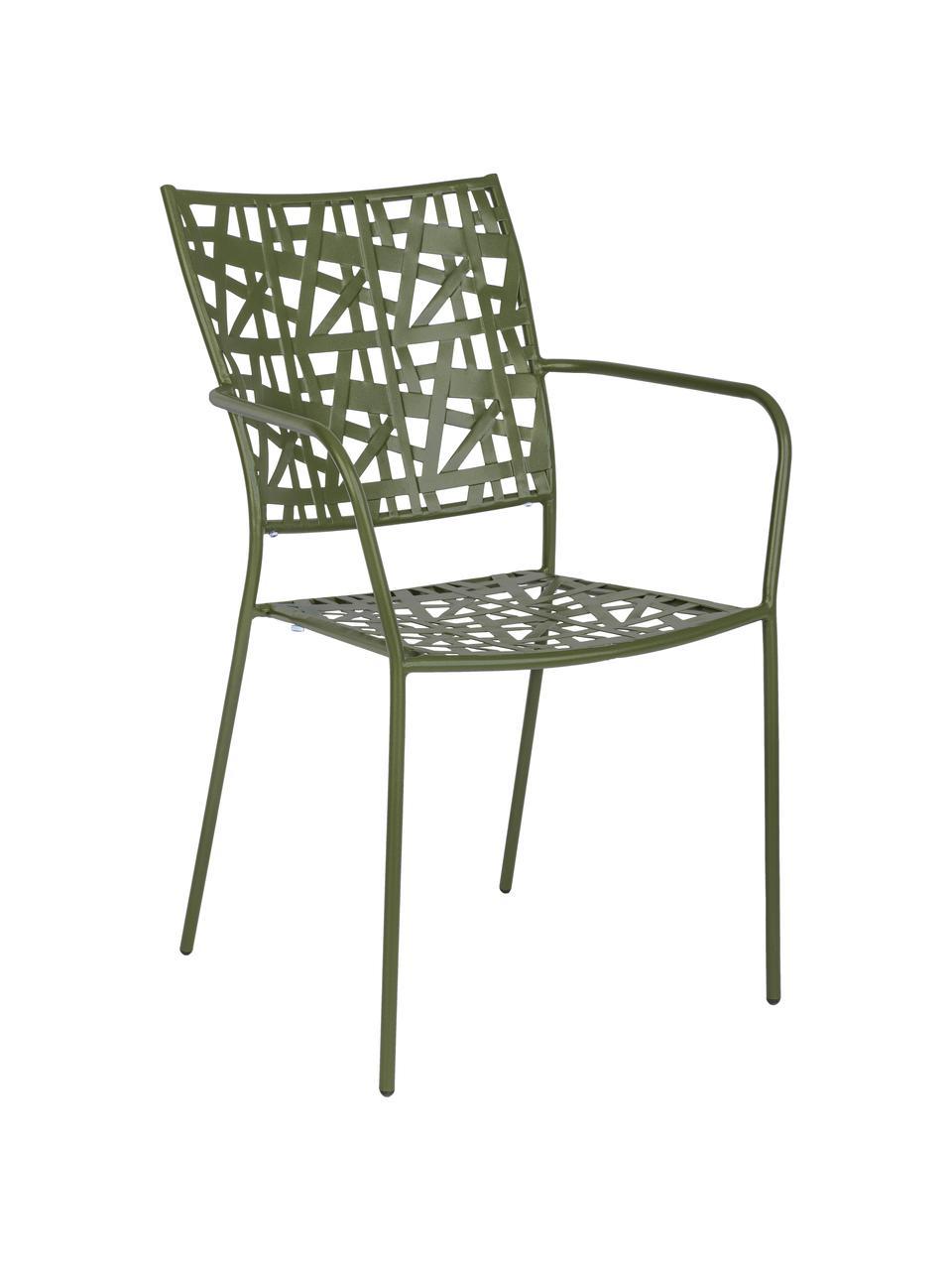 Krzesło ogrodowe z metalu Kelsie, Metal malowany proszkowo, Zielony, S 55 x G 54 cm