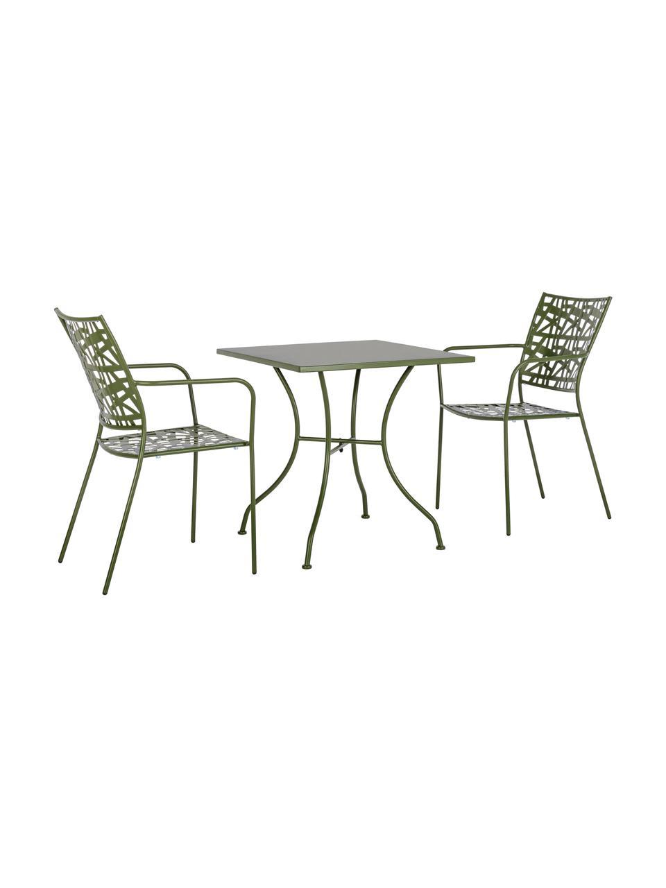Sedia impilabile da giardino in metallo Kelsie, Metallo verniciato a polvere, Verde, Larg. 55 x Prof. 54 cm