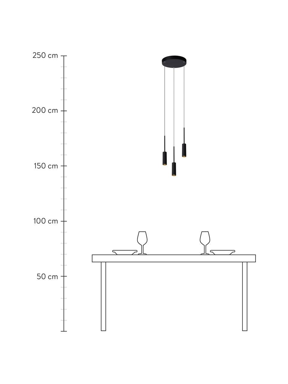 Kleine Cluster-LED-Pendelleuchte Tubule, Baldachin: Aluminium, beschichtet, Schwarz, Ø 26 x H 34 cm