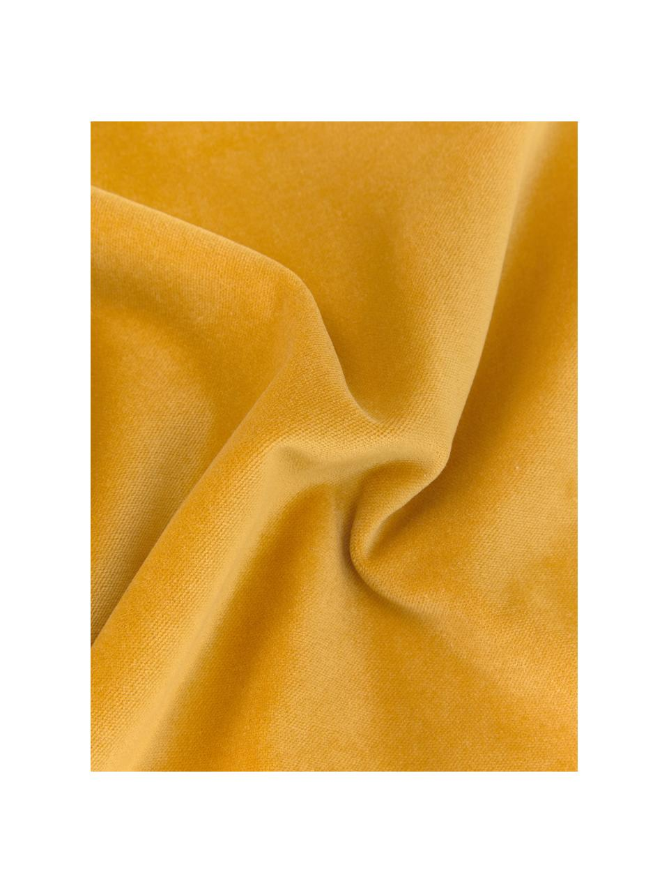 Einfarbige Samt-Kissenhülle Dana in Ockergelb, 100% Baumwollsamt, Ocker, 50 x 50 cm