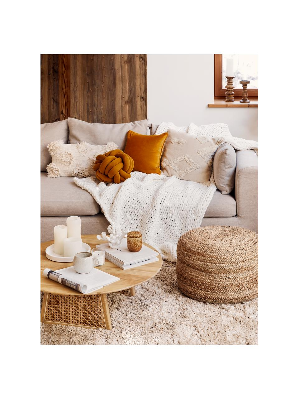 Poszewka na poduszkę z aksamitu Dana, 100% aksamit bawełniany, Ochrowy, S 50 x D 50 cm