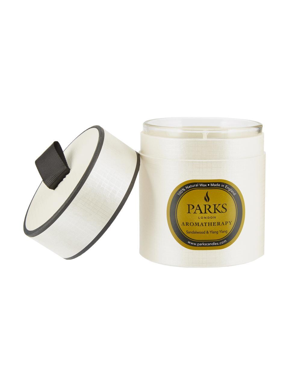 Duftkerze Aromatherapy (Sandelholz & Ylang Ylang), Behälter: Glas, Weiß, Transparent, Ø 8 x H 9 cm