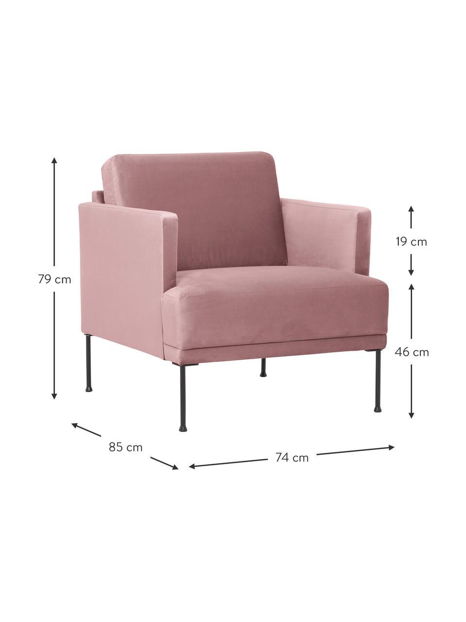Fluwelen fauteuil Fluente in roze met metalen poten, Bekleding: fluweel (hoogwaardig poly, Frame: massief grenenhout, Poten: gepoedercoat metaal, Fluweel roze, B 74 x D 85 cm