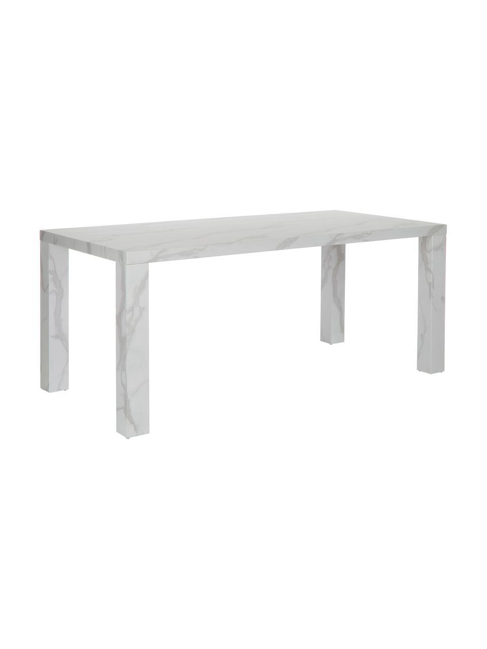 Table blanche aspect marbre Carl, 180 x 90 cm, Blanc marbré, brillant