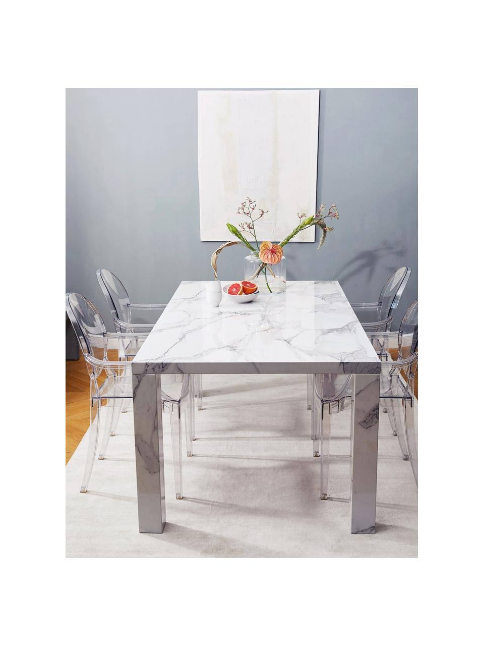 Tavolo effetto marmo Carl, 180 x 90 cm, Pannello di fibre a media densità (MDF) rivestito con carta effetto marmo laccata, Bianco marmorizzato, lucido, Larg. 180 x Prof. 90 cm