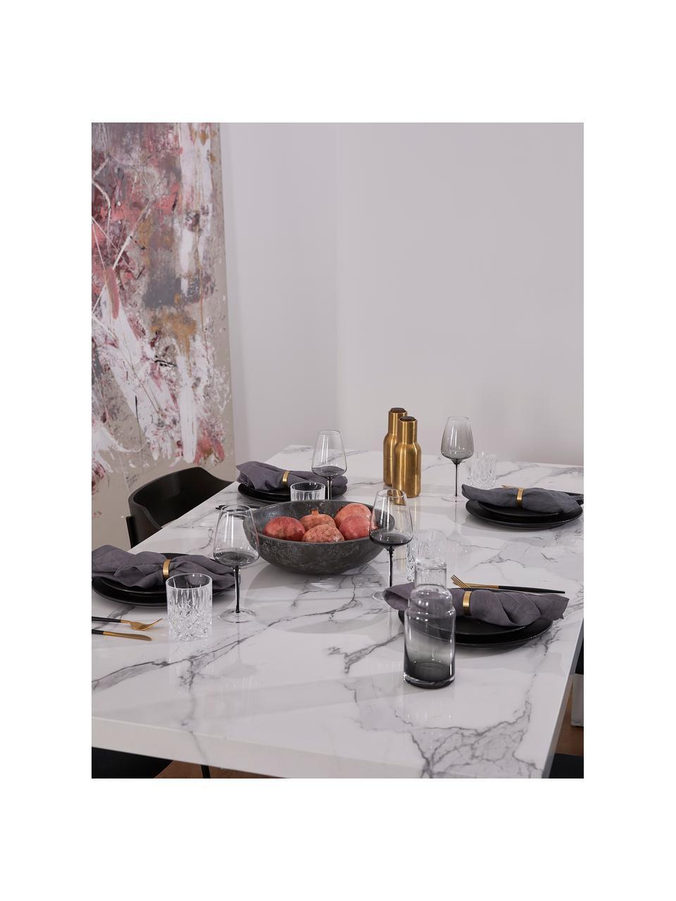 Esstisch Carl in Marmoroptik, 180 x 90 cm, Mitteldichte Holzfaserplatte (MDF), mit lackbeschichtetem Papier in Marmoroptik überzogen, Weiß, glänzend in Marmor-Optik, B 180 x T 90 cm