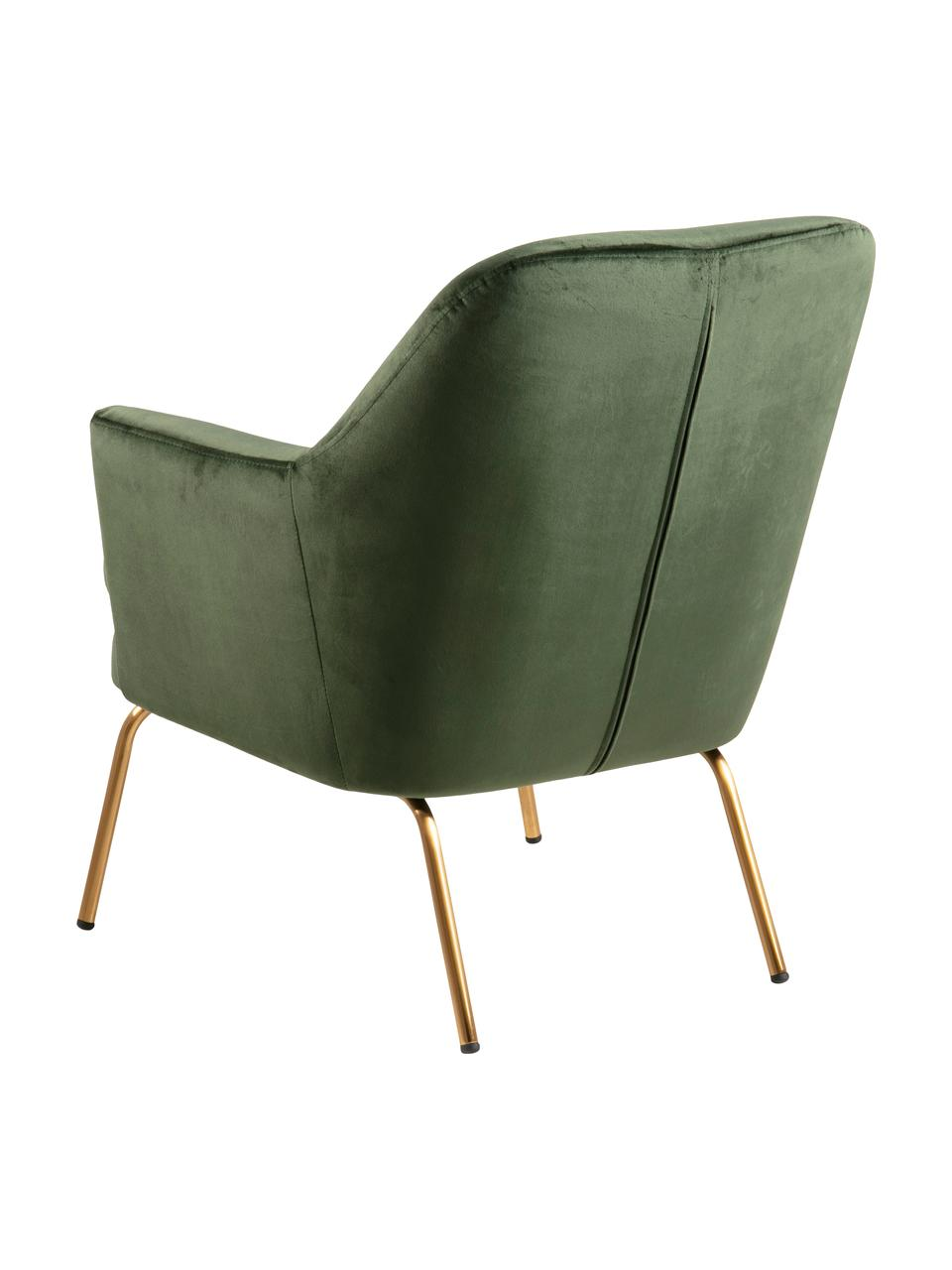 Fluwelen fauteuil Chisa in groen, Bekleding: polyester fluweel, Poten: gelakt metaal, Fluweel bosgroen, B 74 x D 73 cm