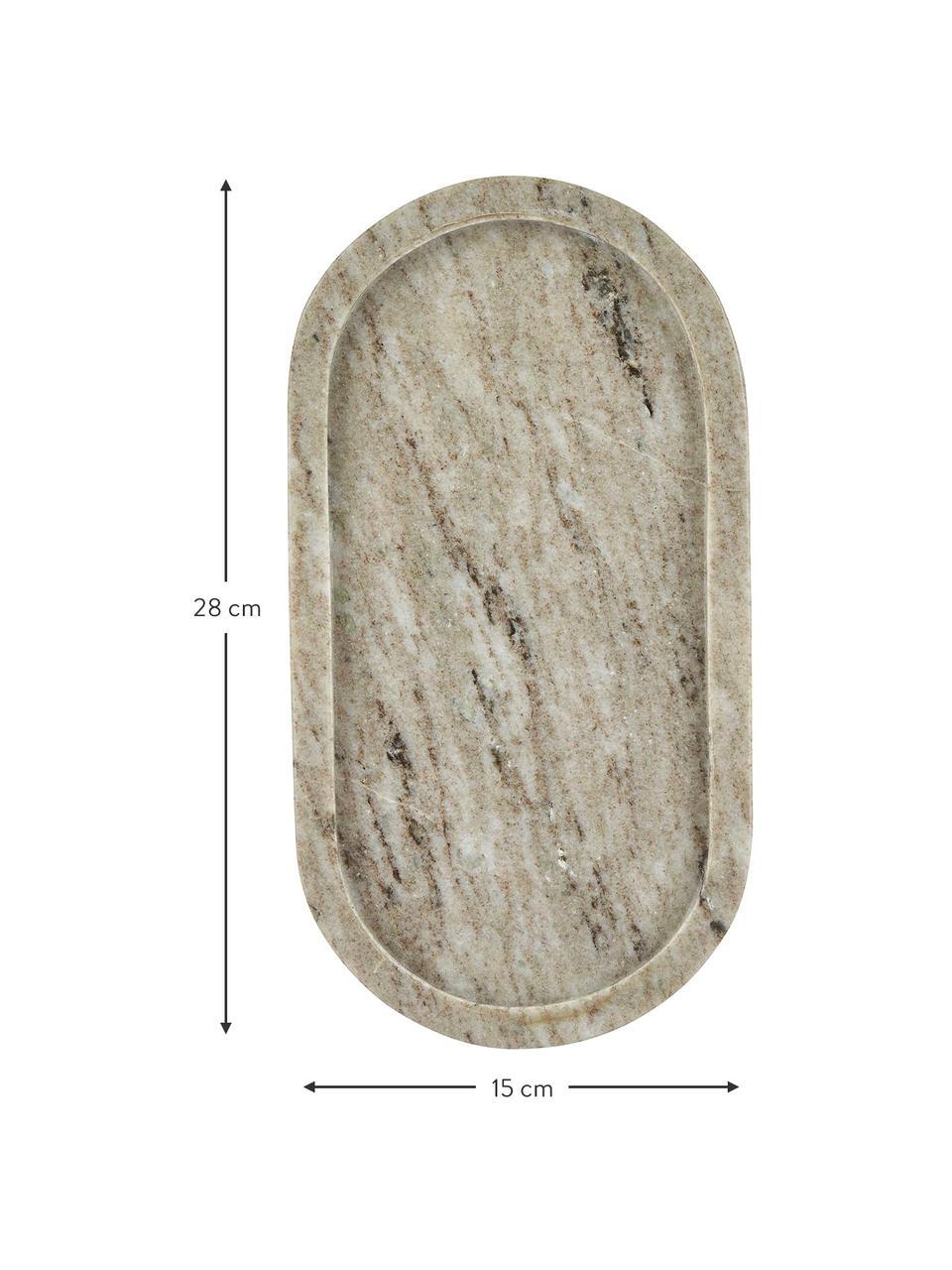 Taca dekoracyjna z marmuru Oval, Marmur, Beżowy, S 15 x G 28 cm
