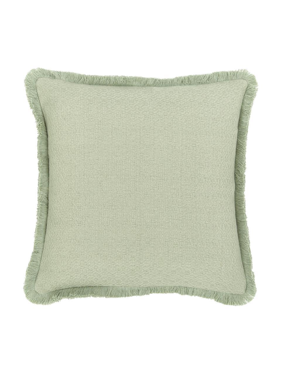 Kissenhülle Lorel in Mintgrün mit dekorativen Fransen, 100% Baumwolle, Grün, 40 x 40 cm