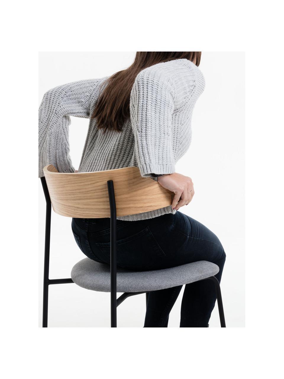 Krzesło tapicerowane z oparciem z drewna naturalnego Olympia, 2 szt., Szary, drewno dębowe, S 52 x G 49 cm