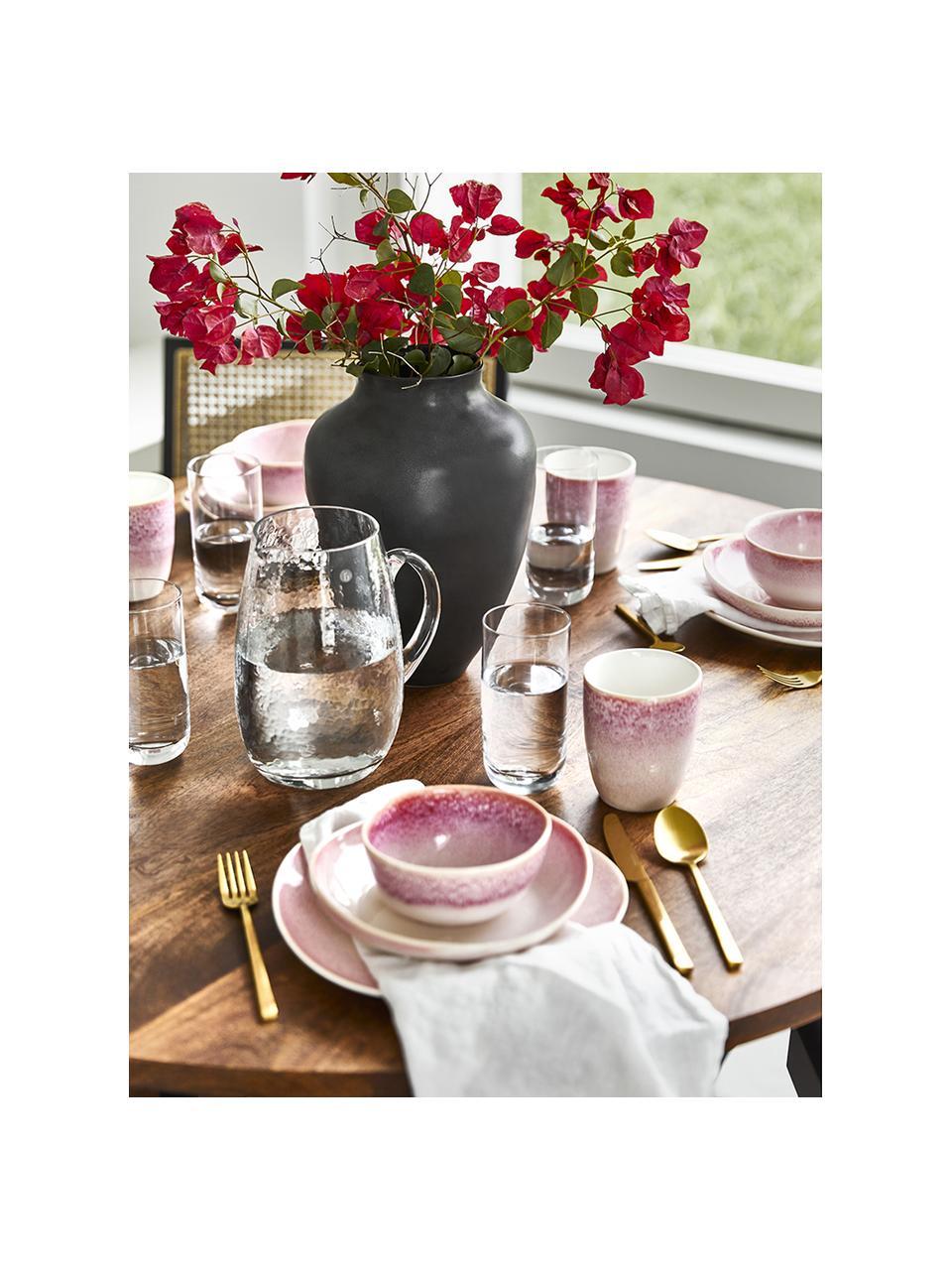 Ręcznie wykonana miseczka Amalia, 2 szt., Ceramika, Jasny różowy, kremowobiały, Ø 14 x W 7 cm