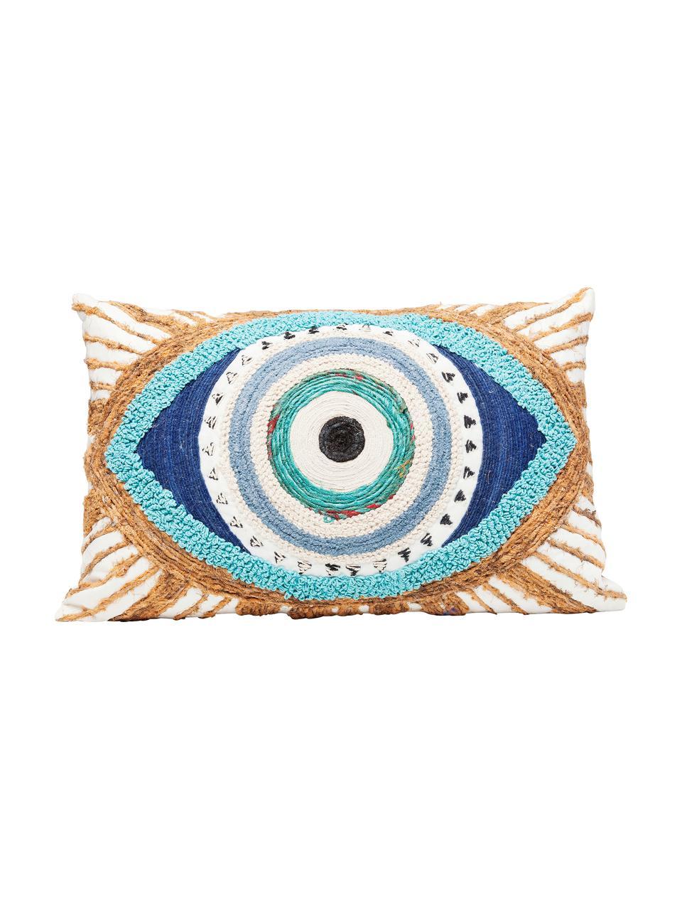 Geborduurd kussen Ethno Eye met juten decoratie, met vulling, Decoratie: jute, Wit, beige, blauw, 35 x 55 cm