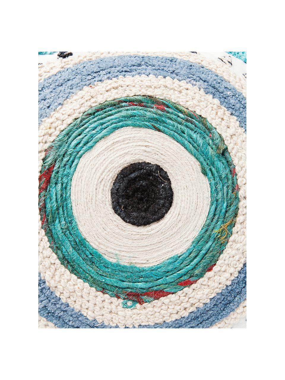 Federa con imbottitura fatta a mano Ethno Eye, Rivestimento: 100% cotone, Bianco, beige, blu, Larg. 35 x Lung. 55 cm
