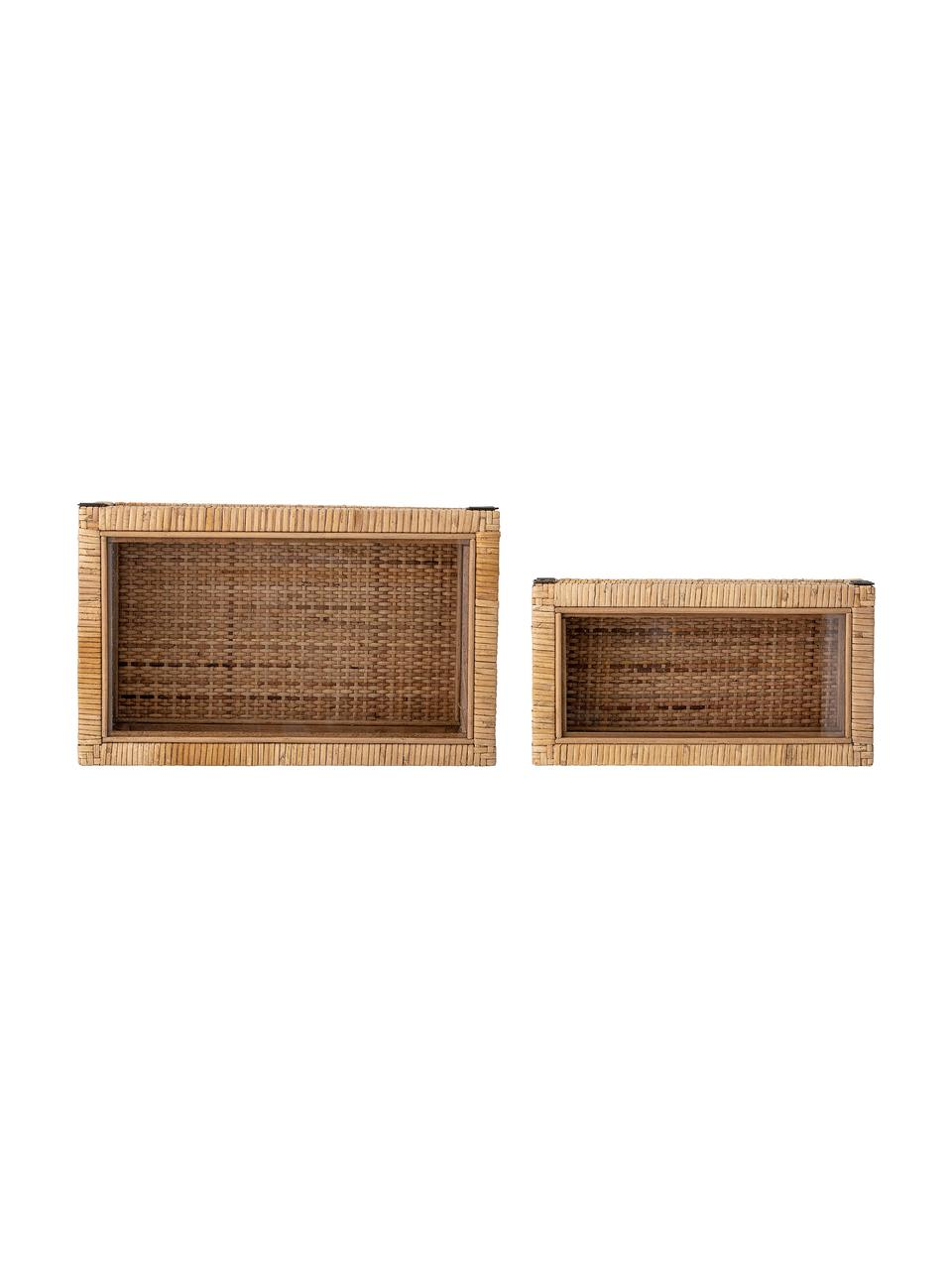 Schmuckboxen-Set Talina, 2-tlg., Box: Rattan, Holz, Deckel: Glas, Braun, Set mit verschiedenen Größen