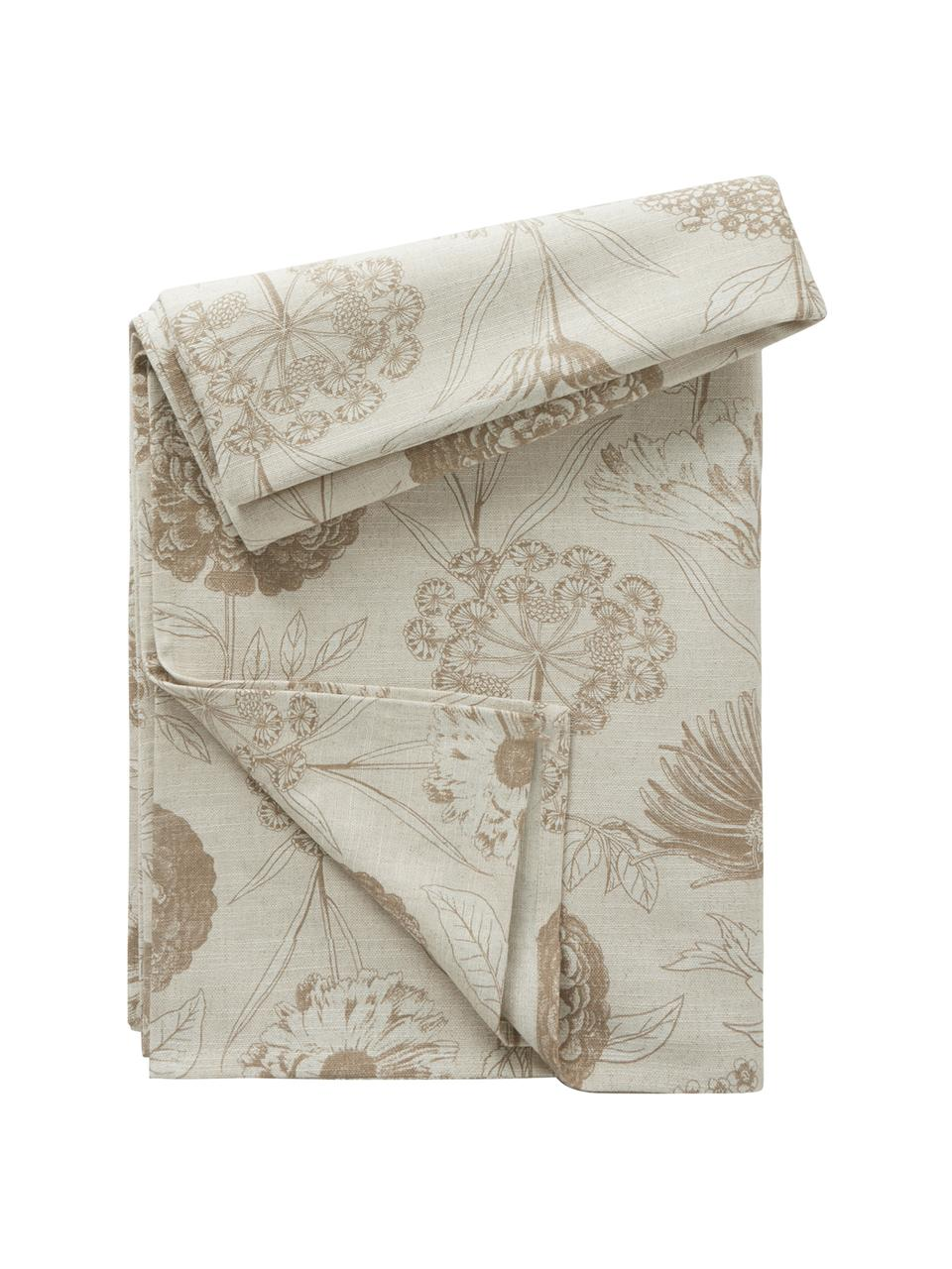 Tovaglia con motivo floreale Freya, 86% cotone, 14% lino, Beige, marrone, Per 4-6 persone (Larg.145 x Lung. 200 cm)