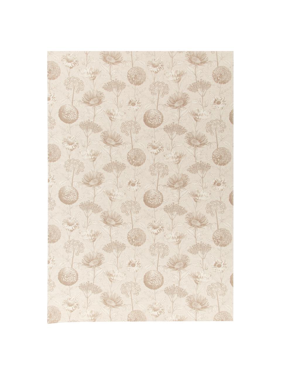 Obrus z bawełny Freya, 86% bawełna, 14% len, Beżowy, brązowy, Dla 4-6 osób (S 145 x D 200 cm)