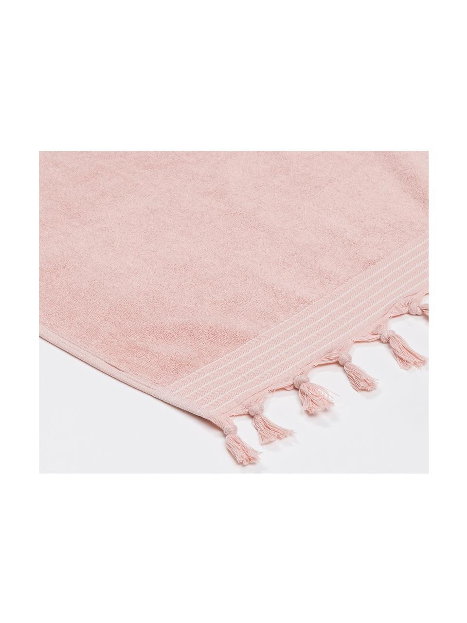 Hamamtuch Soft Cotton mit Frottee-Rückseite, Rückseite: Frottee, Rosa, Weiß, 100 x 180 cm
