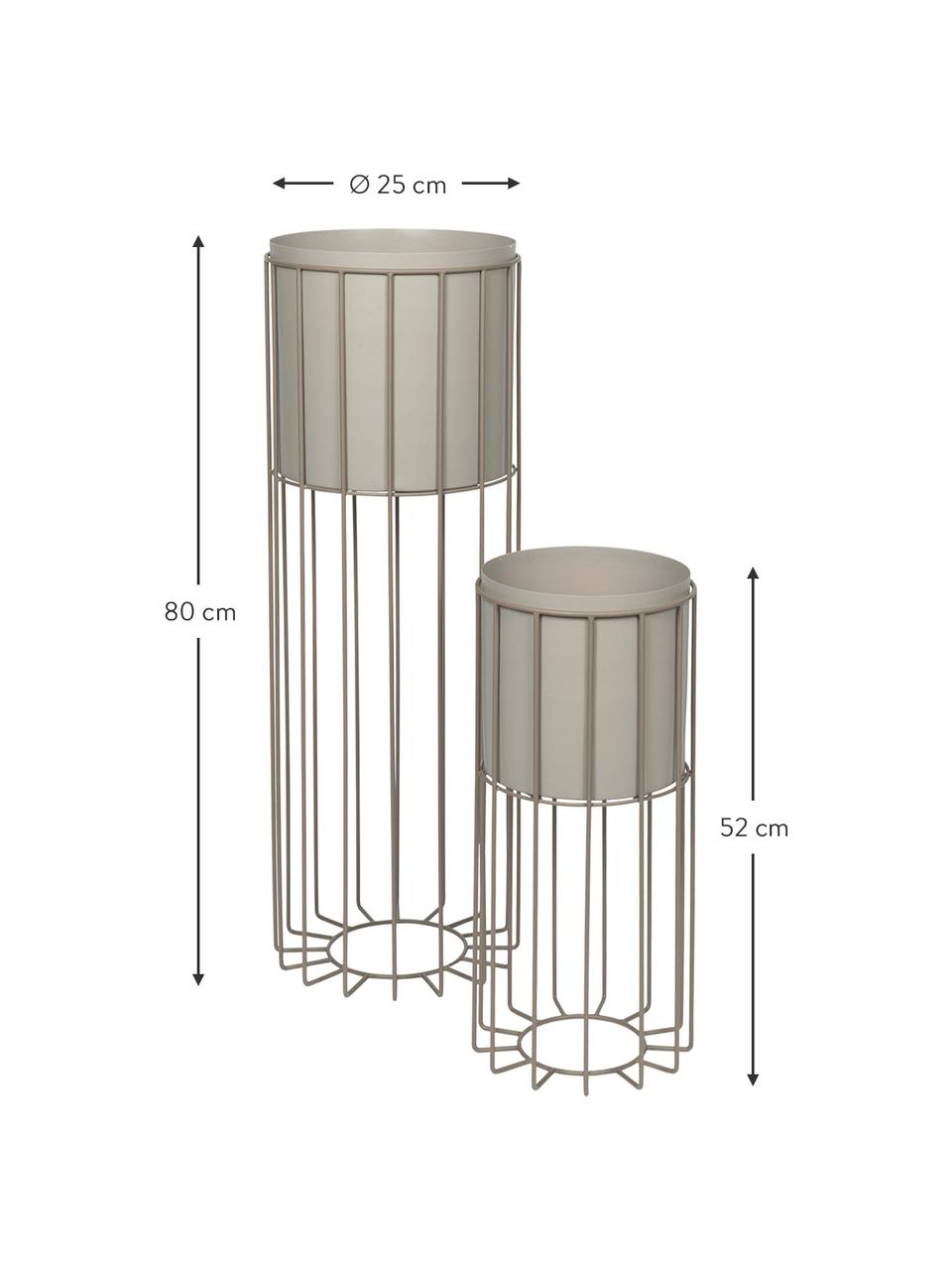 Übertopf-Set Fenja aus Metall, 2-tlg., Metall, beschichtet, Grau, Set mit verschiedenen Größen