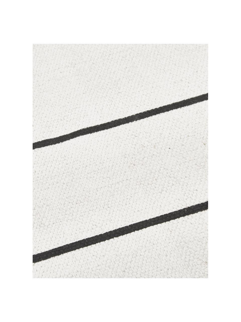 Tappeto in cotone tessuto a mano David, 100% cotone, Bianco latteo, nero, Larg. 200 x Lung. 300 cm (taglia L)