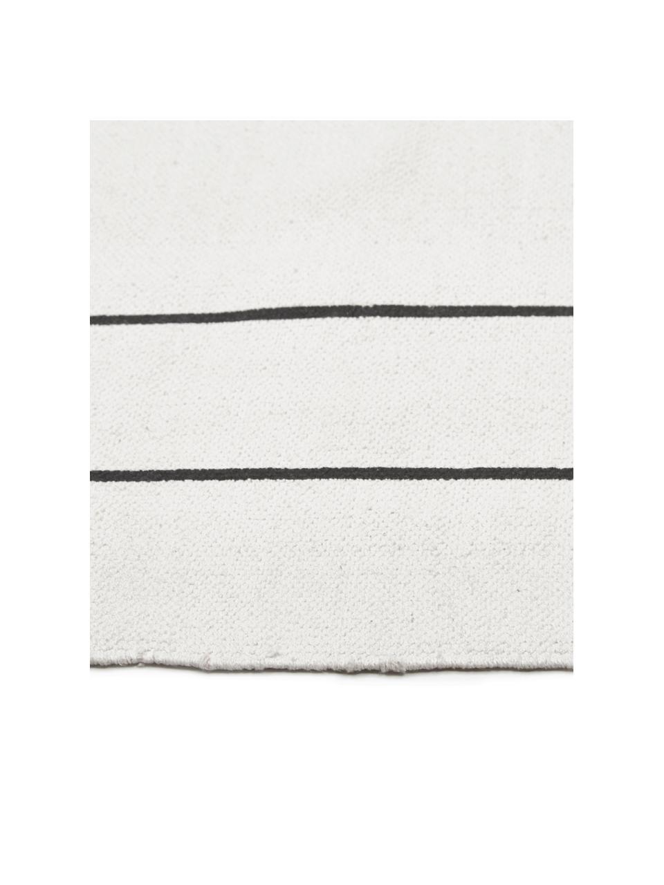 Ręcznie wykonany dywan z bawełny tkany na płasko David, 100% bawełna, Kremowobiały, czarny, D 200 x S 300 cm (Rozmiar L)