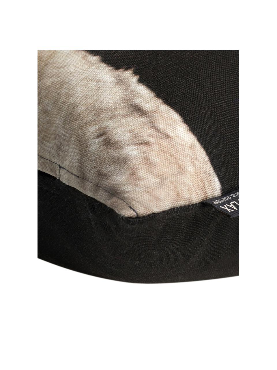 Housse de coussin rectangulaire Pavel, Noir, tons beiges