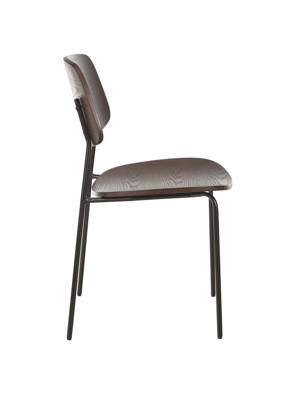 Krzesło z drewna Nadja, 2 szt., Nogi: metal malowany proszkowo, Fornir z ciemnego drewna jesionowego, S 50 x G 53 cm
