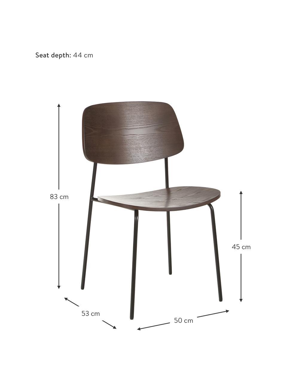Holzstühle Nadja, 2 Stück, Sitzfläche: Sperrholz mit Eschenholzf, Beine: Metall, pulverbeschichtet, Dunkles Eschenholzfunier, B 50 x T 53 cm